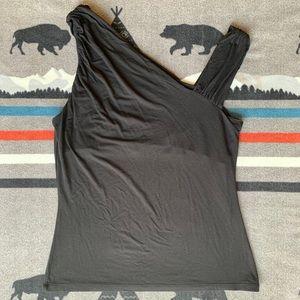 Tops - Kenar Asymmetrical Black Top